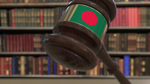 Flag of Bangladesh on falling judges gavel in court. National justice or Live Action