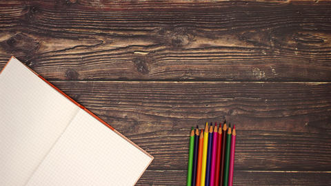 School Supplies on the Deck - Stop motion animation Stock Video Footage