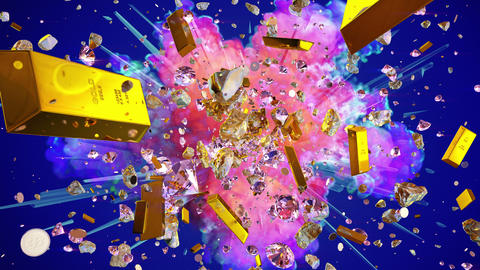 Explosion of valuables on the blue background Animation