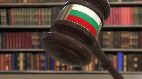 Flag of Bulgaria on falling judges gavel in court. National justice or Live Action