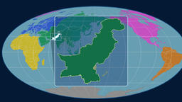 Pakistan - 3D tube zoom (Mollweide projection). Continents Animation