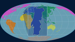 Portugal - 3D tube zoom (Mollweide projection). Continents Animation