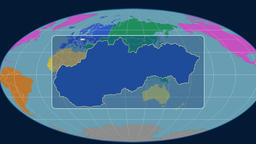 Slovakia - 3D tube zoom (Mollweide projection). Continents Animation
