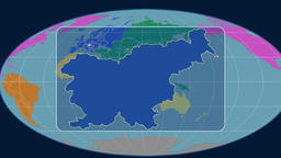 Slovenia - 3D tube zoom (Mollweide projection). Continents Animation