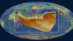 Somaliland - 3D tube zoom (Mollweide projection). Relief Animation