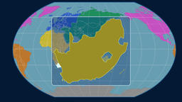 South Africa - 3D tube zoom (Kavrayskiy VII projection). Continents Animation