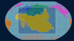 South Sudan - 3D tube zoom (Kavrayskiy VII projection). Continents Animation
