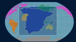 Spain - 3D tube zoom (Kavrayskiy VII projection). Continents Animation
