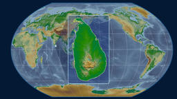 Sri Lanka - 3D tube zoom (Kavrayskiy VII projection). Bumps shaded Animation