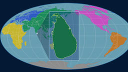 Sri Lanka - 3D tube zoom (Mollweide projection). Continents Animation