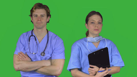 Couple of unhappy medical pros (Green Key) Footage