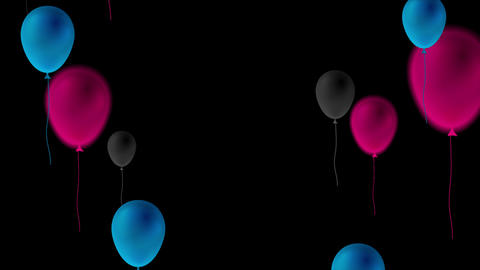 Blue, purple and black balloons abstract video animation Animation