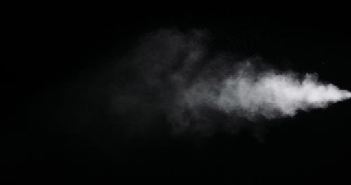 White Smoke Trail Isolated on Black Background Live Action