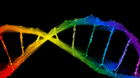Isolated Iridescent rainbow Digital polygonal DNA molecule strand colorful Loop Animation