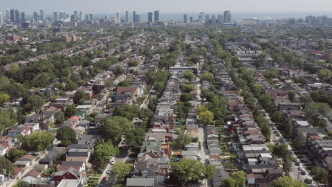 Aerial Establishing shot of a Toronto neighborhood during the summer Live Action