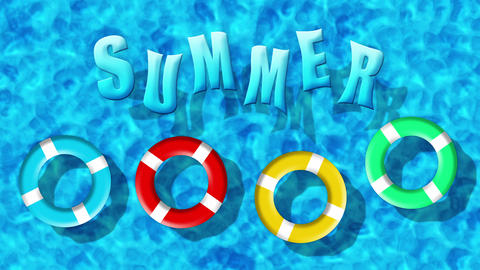 Summer Holiday At Swimming Pool With Inflatable Rings Floating Animation