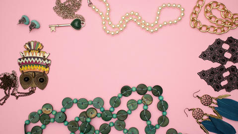 Jewelry on pink background - Stop motion animation Animation