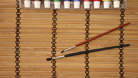 Oil Colors and Brushes on the table - Stop motion animation Animation