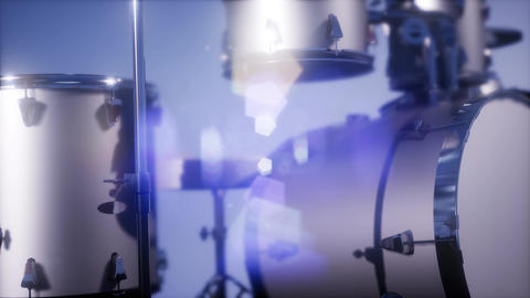 4k drum set with DOF and lense flair Live Action