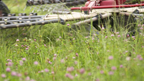 Agriculture red machine cutting green lawn on clover field Footage