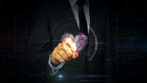 Businessman touch screen with cyber heart and love hologram Live Action
