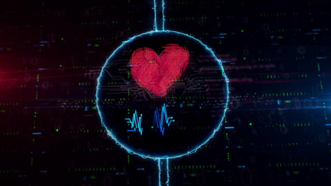 Heart and love symbol hologram in electric circle Animation