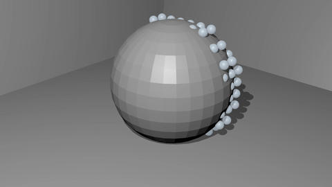 Gray sphere with moving pearl particles in gray room, abstract movie, intro Animation