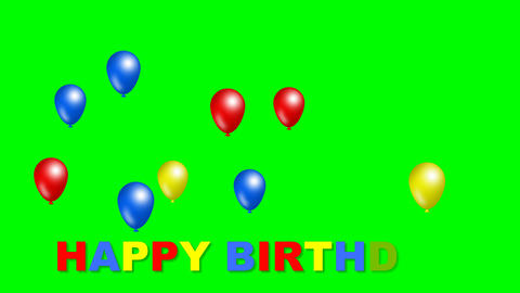 Happy birthday inscription with moving funny balls in blue, red and yellow color Animation