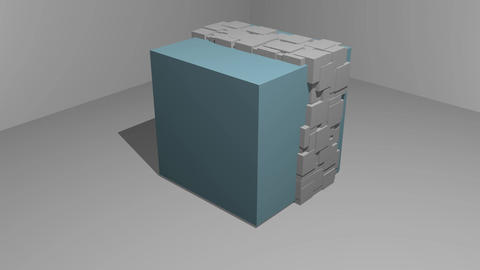 animation of cubic particle motion on a cubic object, 3d movie, blue cube and Animation