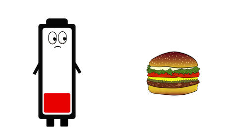 Battery and meal on white Animation