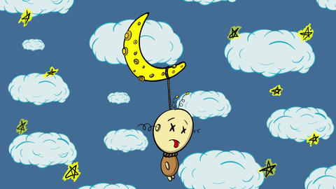 Half moon and character blue Animation