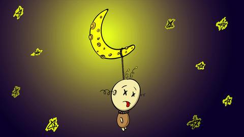 Half moon and character night Animation