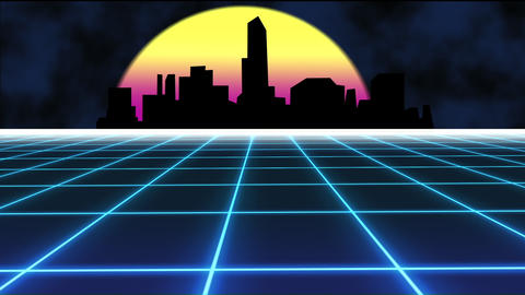 Synthwave with sun and landscape grid background. Seamless looped background Animation