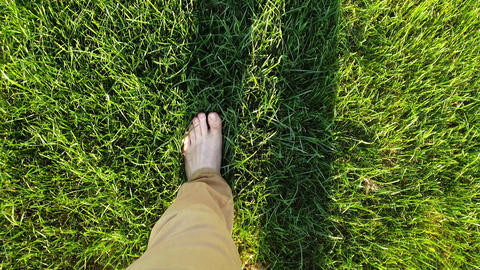 Bare feet walking on the grass POV, concept of freedom and happiness Footage