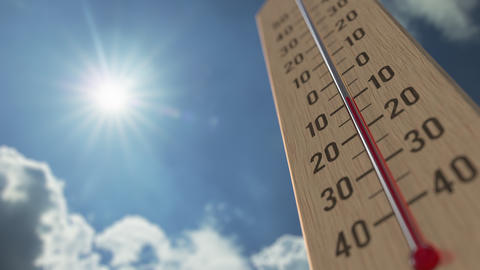 Outdoor thermometer reaches 5 five degrees centigrade. Weather forecast related Live Action