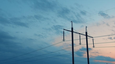 High-Voltage power lines against the sky and clouds, Time-lapse Live Action