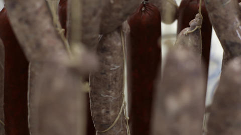 Meat factory objects. Fresh sausages hang on trays at modren meat factory Footage