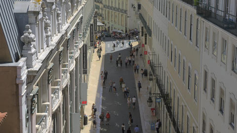 A top view of a sunny Carmo street in Lisbon Archivo