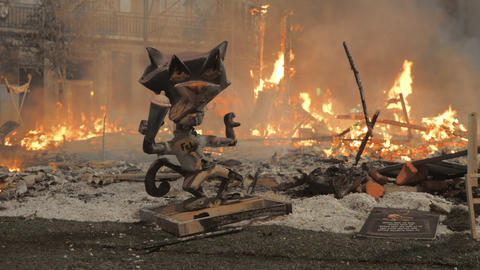 The satirical cat figure against the dying bonfire after the Falles night Archivo