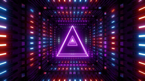 glowing wireframe triangle with metal shining background 3d illustration vj loop Animation