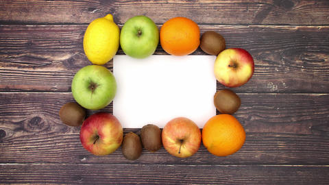 Fruits around white paper - Stop Motion Animation