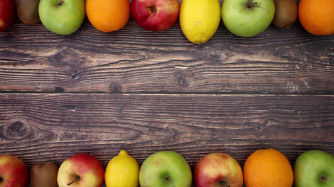 Fruits on wooden background - Stop Motion Animation