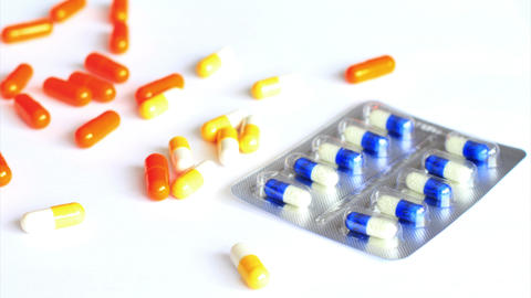4k. Medical Pills on the Table. Shot Slider Stock Video Footage