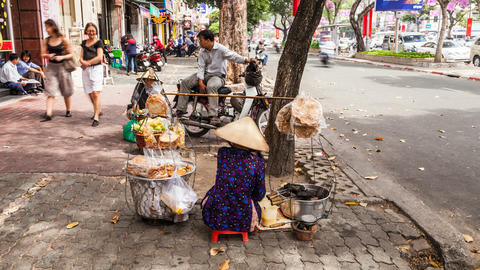 4K Timelapse of street vendor in Ho Chi Minh City Footage