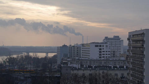 View at the busy city and chimneys in the morning Stock Video Footage
