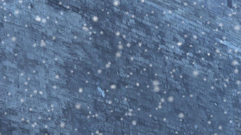 Ancient city Great Wall texture in winter snow.roof of... Stock Video Footage