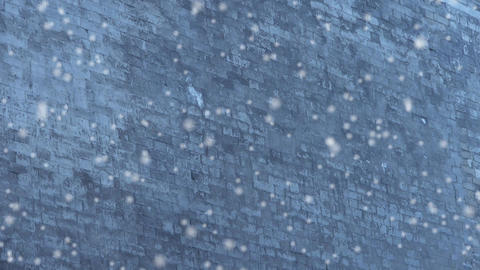 Ancient city Great Wall texture in winter snow.roof of Forbidden City palace.Wea Footage