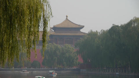 cruise ship docks,yacht boats on lake.willow relying on river in Beijing Forbidd Footage
