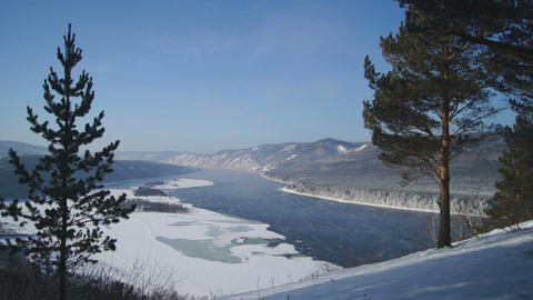 River Yenisei Winter Landscape 02 Stock Video Footage