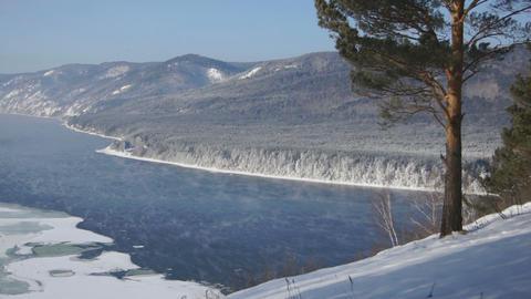 River Yenisei Winter Landscape 03 Stock Video Footage